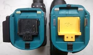 Das Foto zeigt die Makita Akku Aufnahme an 2 Geräten mit Stern und 18V Prägung